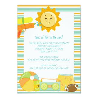 "Pool Party Birthday Celebration Invitations 5"" X 7"" Invitation Card"