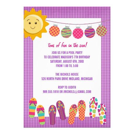 Pool Party Birthday Celebration Invitations