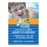 Pool Party Birthday Custom Announcement