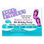 Pool Party Birthday Custom Announcements