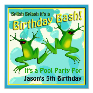 Pool Party Birthday Funny Frogs Invitation