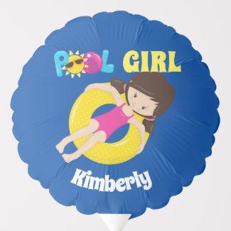 Pool Party Birthday Girl Cute Custom Swimming Balloon