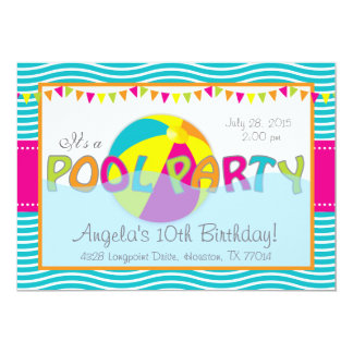 Pool Party Birthday Girl Invitation
