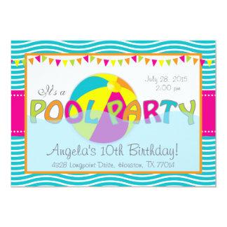 "Pool Party Birthday Girl Invitation 5"" X 7"" Invitation Card"