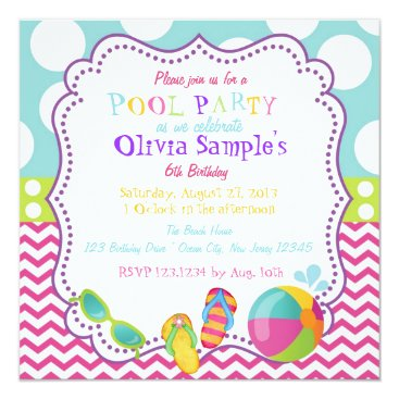 PixieToesInvitations Pool Party Birthday Invitation