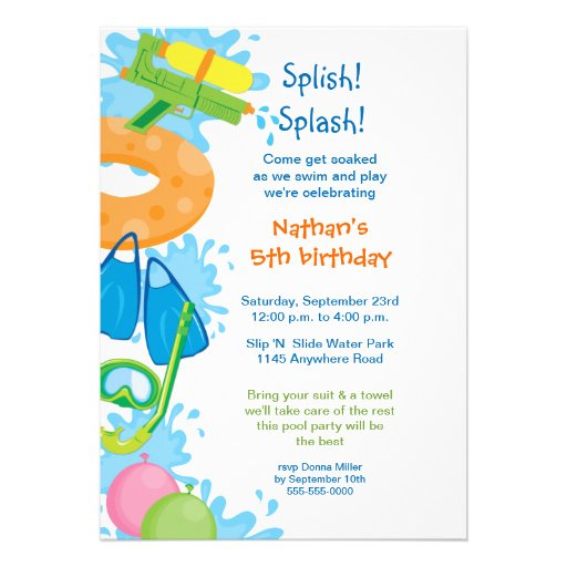 Most Popular Pool Party Invitations – Water Park Party Invitations