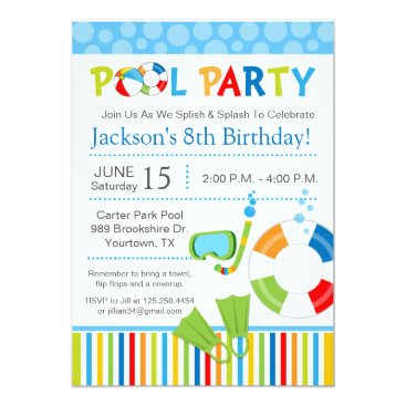 eloycedesigns Pool Party Birthday Invitation