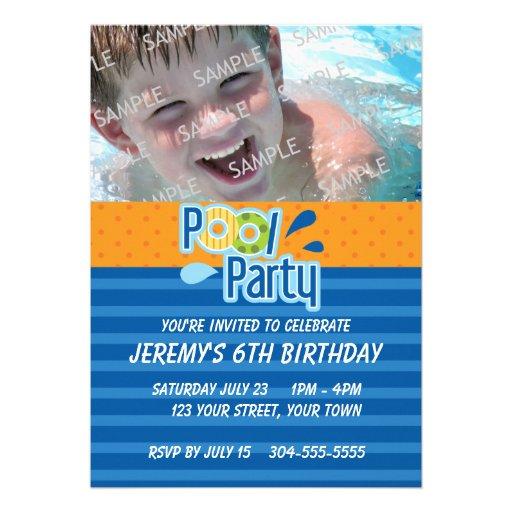 Pool Party Birthday Custom Announcement