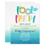Hand shaped Pool Party Birthday Invitation