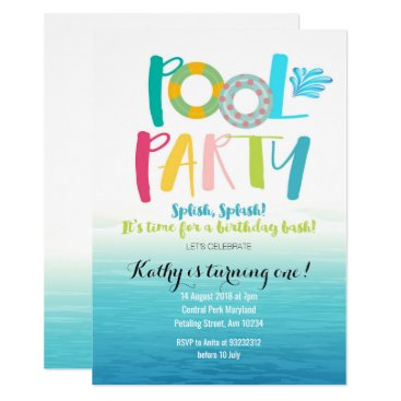 Beach Themed Pool Party Birthday Invitation