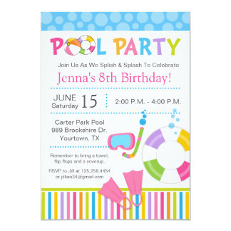 Pool Party Birthday Invitations & Announcements | Zazzle