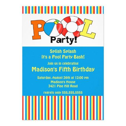 Pool Party Birthday Invitation Bright Stripes!