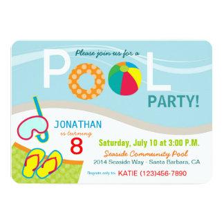 Pool Party Birthday Invitation Card