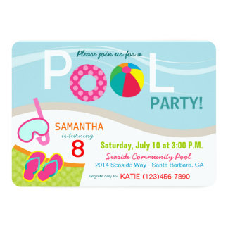 Pool Party Birthday Invitation Card