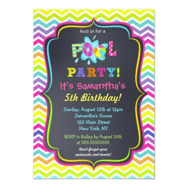 SugarPlumPaperie Pool Party Birthday Invitations