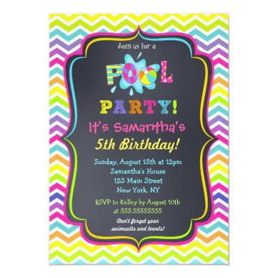 Chalkboard Birthday Pool Party Invitation  ZazzleCom