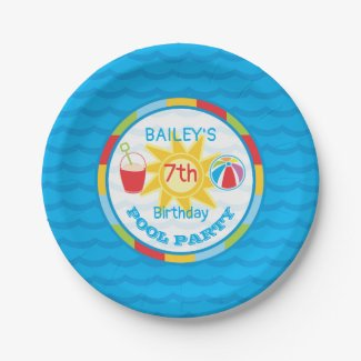 Pool Party Birthday Paper Plates in Primary Colors