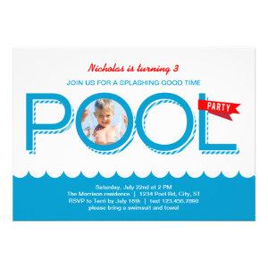 Pool Party Birthday Photo Invitation