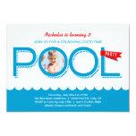"Pool Party Birthday Photo Invitation 5"" X 7"" Invitation Card"
