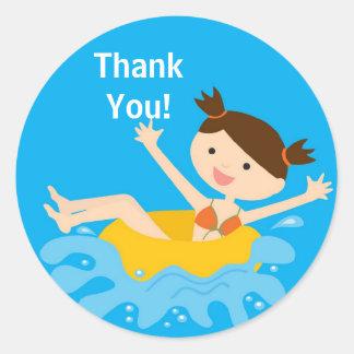 Pool Party Birthday Thank You Sticker