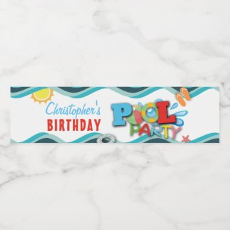 Pool Party Birthday Water Bottle Label