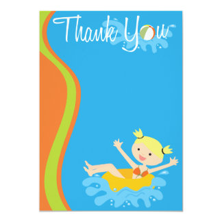 Pool Party Blonde Thank You Card