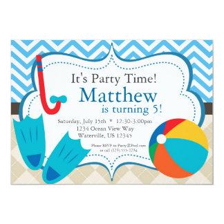 Pool Party Blue Chevron and Tan Argyle Birthday 5x7 Paper Invitation Card