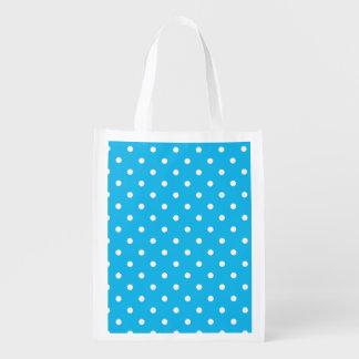 Pool Party Blue Polka Dot Reusable Grocery Bag