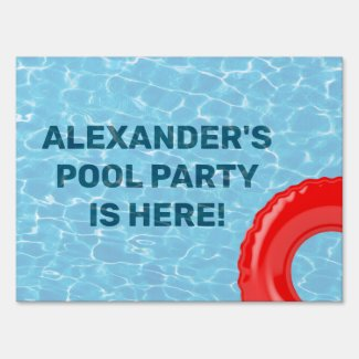 Pool Party Blue Water Red Tube Custom Sign