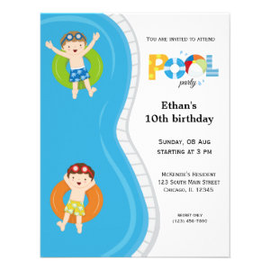 Pool Party (boy) Personalized Invitations