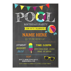 Pool Party Boys girls Birthday Beach Invitations