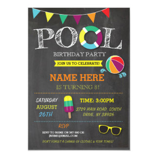 Pool Party Birthday Invitations & Announcements | Zazzle