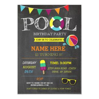Pool Party Boys girls Birthday Beach Invitations