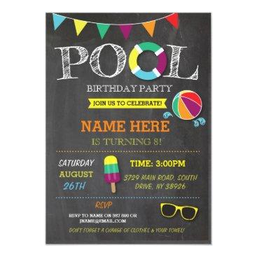 WOWWOWMEOW Pool Party Boys girls Birthday Beach Invitations