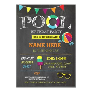 WOWWOWMEOW Pool Party Boys girls Birthday Beach Invitations