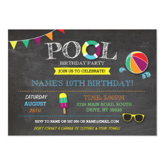 Pool Party Boys or Girls Birthday Beach Sun Invite
