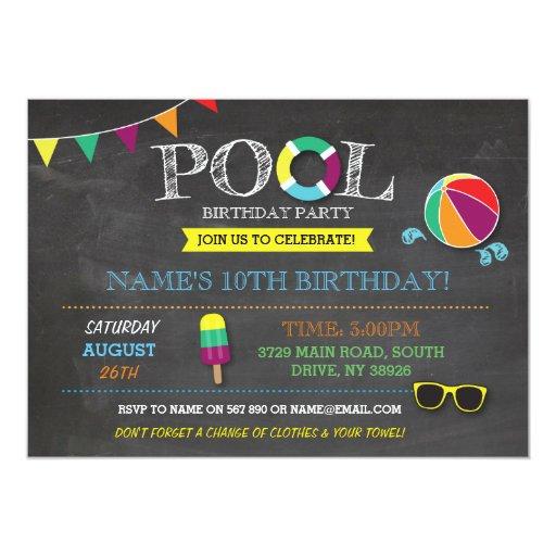 Pool Party Boys or Girls Birthday Beach Sun Invite