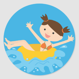 Pool Party Brunette Girl Classic Round Sticker