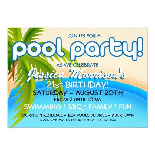 Pool Party Celebration Invitations