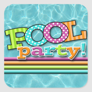Pool Party Celebration Square Sticker