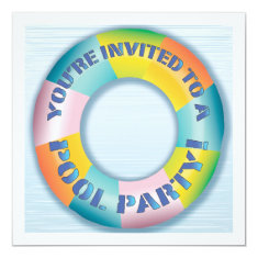 Pool Party Colorful Fun Float Invitation 5.25