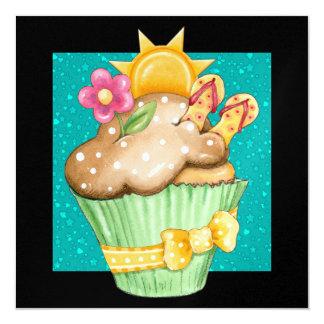 Pool Party Cupcake ! - SRF 5.25x5.25 Square Paper Invitation Card