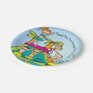 Pool Party Customized Thanks Birthday Paper Plate 7 Inch Paper Plate