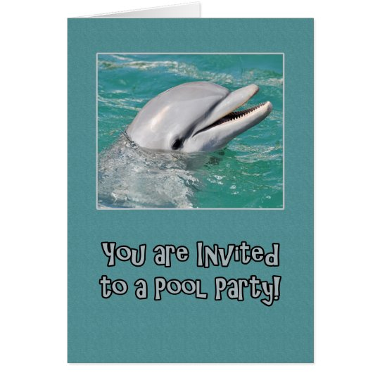 Pool Party Dolphin Swimming in Water Card