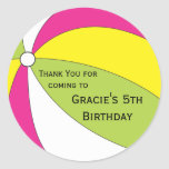 Pool Party Favor Sticker - Pink, Yellow and Green