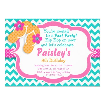 Beach Themed Pool Party Flip Flop Birthday Party Invitation