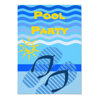 Pool Party Flip Flops Waves Summer Cookout or BBQ 5x7 Paper Invitation Card