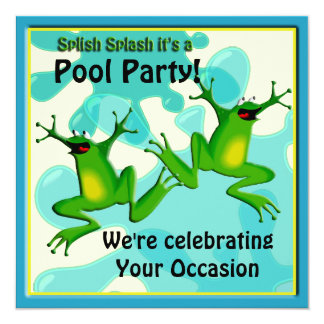 Pool Party Funny Frogs Invitation