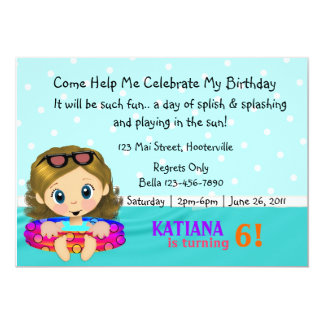"""Pool Party Girl 5"""" X 7"""" Invitation Card"""