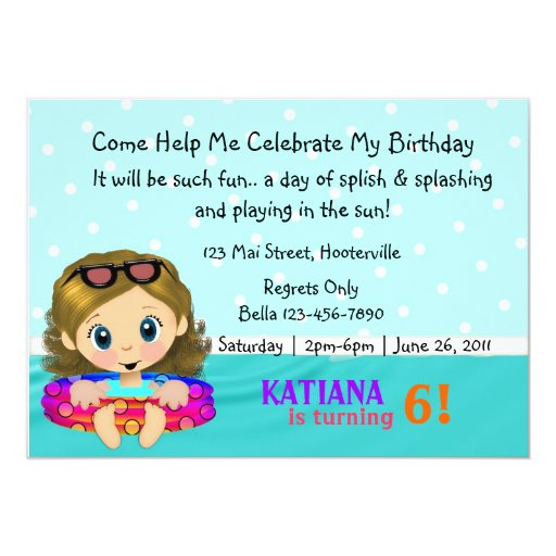 Pool Party Girl 5x7 Paper Invitation Card